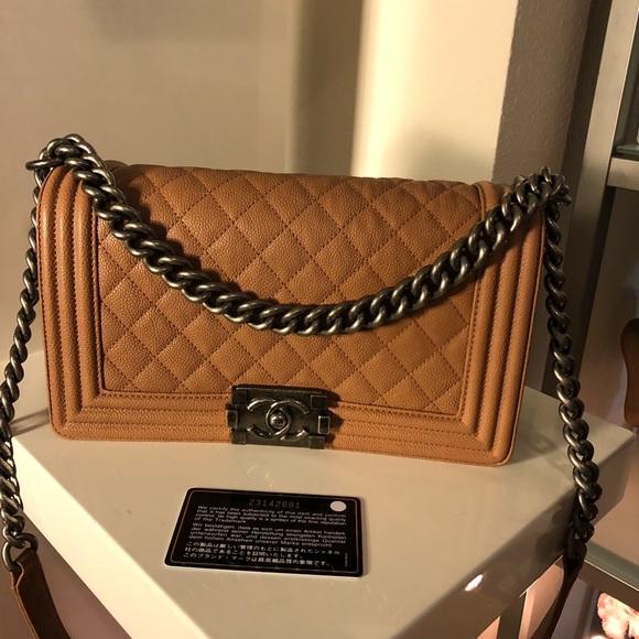 98631748583a CHANEL Bags | Sold Auth Tan Caviar Ruthenium Medium Boy | Poshmark